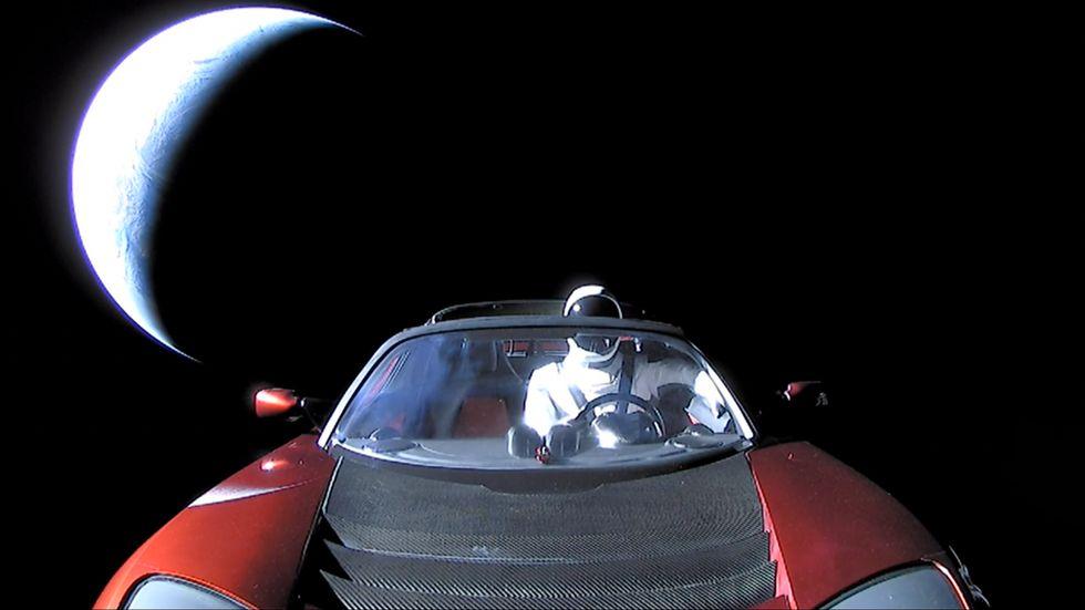 Elon Musk's Tesla Roadster tumbling through space