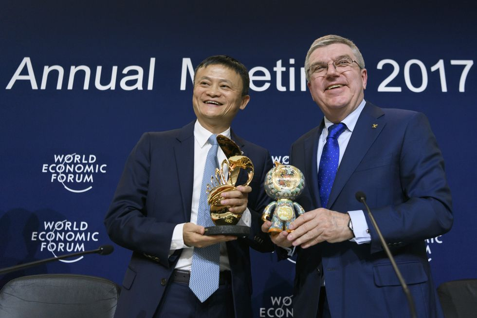 Alibaba founder Jack Ma and IOC President Thomas Bach at the World Economic Forum in Davos, Switzerland.