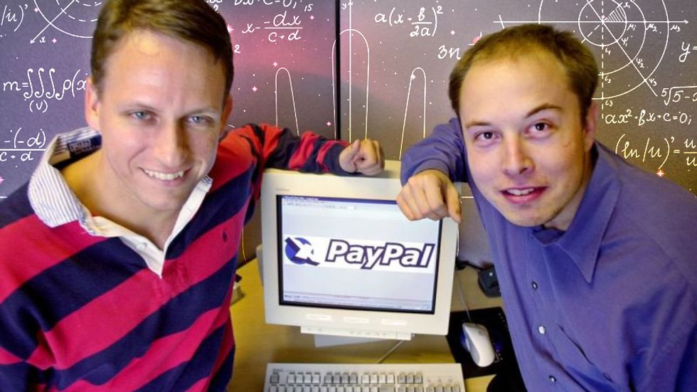 PayPal CEO Peter Thiel, left, and founder Elon Musk, right, at Paypal corporate headquarters in Palo Alto, CA on October 20, 2000. Credit: AP