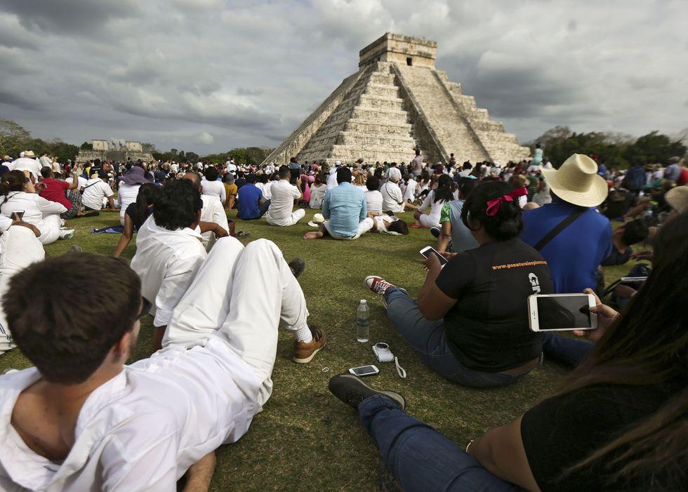 The pyramid at Chichen Itza, Mexico.