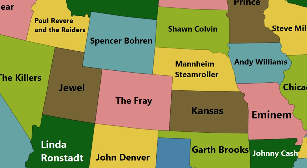 An intriguing map of America's best-selling artists, by state of birth