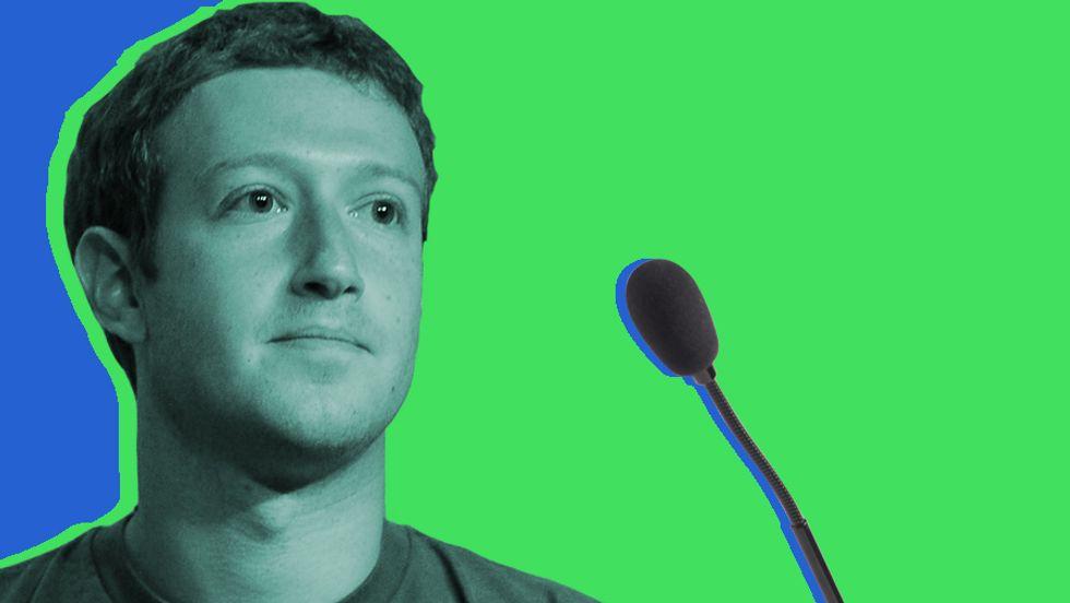 Mark Zuckerberg's testimony begins. (Image: Wikicommons/Big Think)