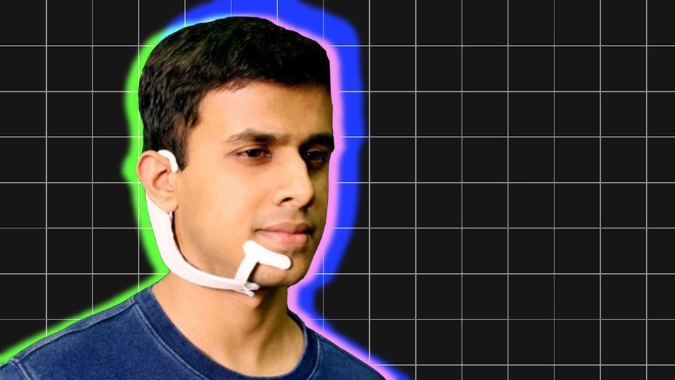 Arnav Kapur, a researcher at the MIT Media Lab, demonstrates AlterEgo.