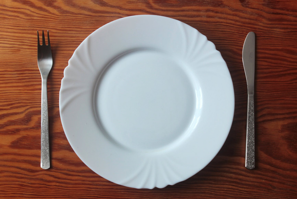 empty plate knife fork plate wooden table