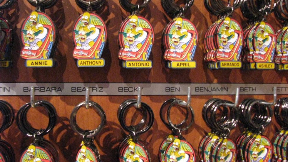 Personalized keychains at a tourist shop. Your name can affect your professional and romantic success and even where you choose to live.