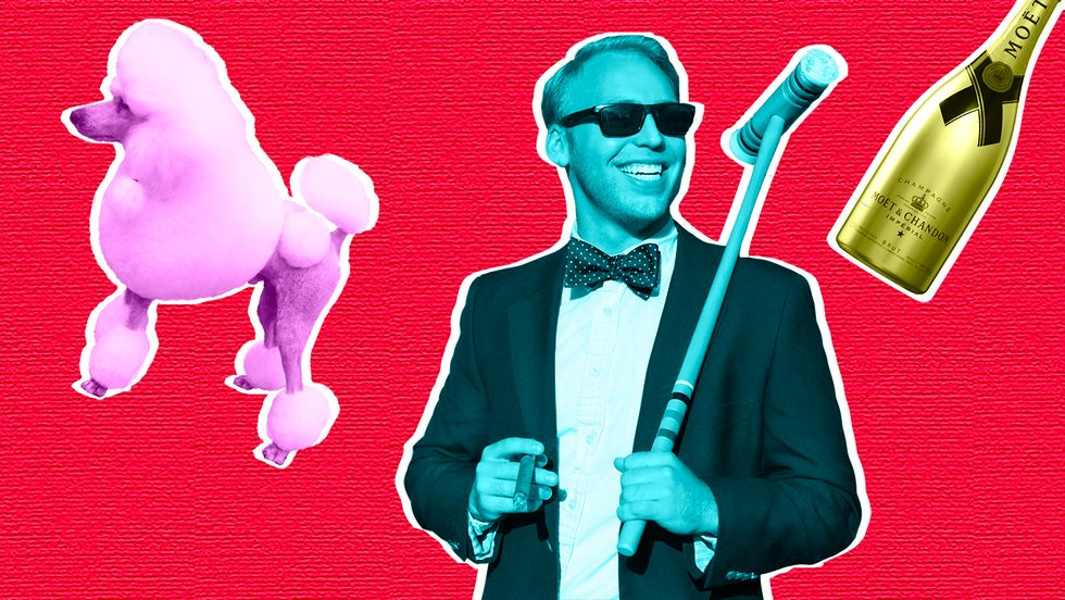 Rich guy with a poodle, cigar, and croquet mallet.