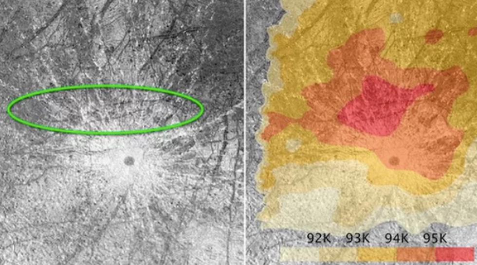 Left: Location of erupting plumes observed by Hubble in 2014 and 2016, inside the green oval. The green oval corresponds to a warm region on Europa's surface, shown on temperature map on right. (Credit: NASA, ESA, W. Sparks (STScI), and USGS)