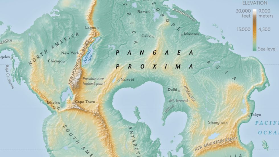 Pangaea Proxima, the next supercontinent, will come into being 250 million years from now