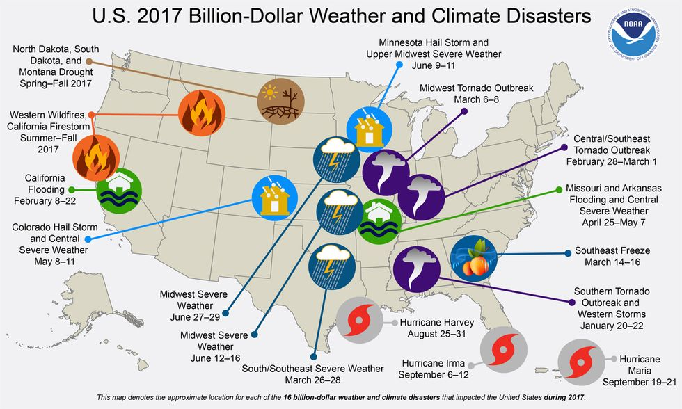 This map shows 16 weather and climate disasters in the U.S. in 2017 that caused 362 direct fatalities in total, and each exceeded $1 billion in losses. (Credit: NOAA)