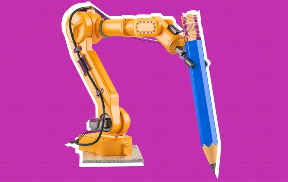 An automated robot holding a pencil, ready to file on deadline. (Shutterstock/Big Think)