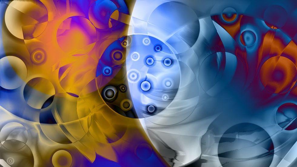 Artist's depiction of quarks inside an atom's nucleus.
