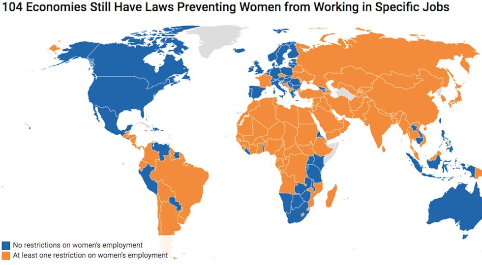 Around the world, some jobs are deemed to hazardous, arduous or morally inappropriate for women