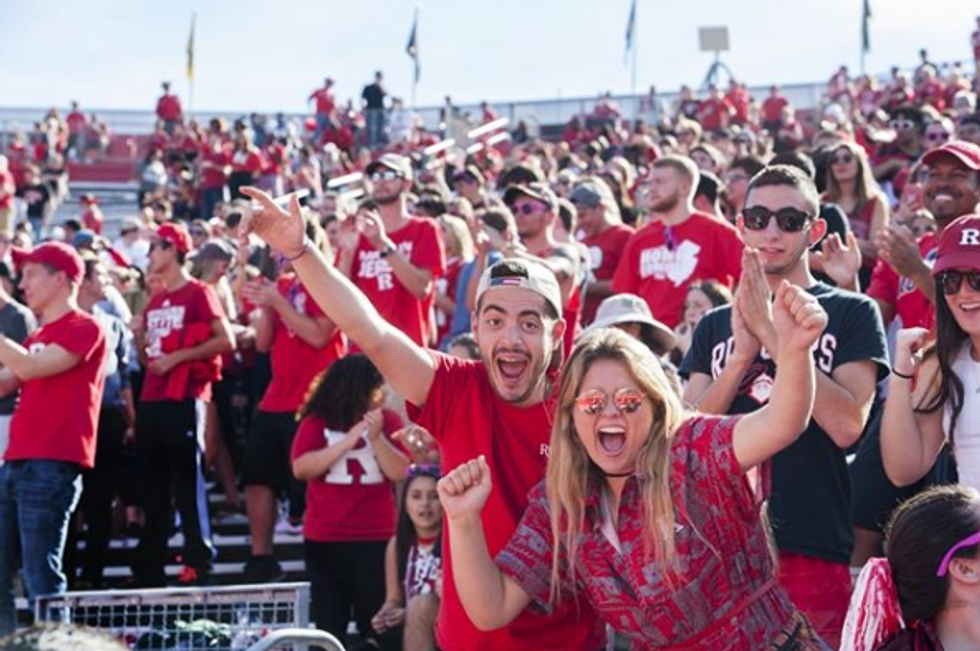 Students at a Rutgers football game