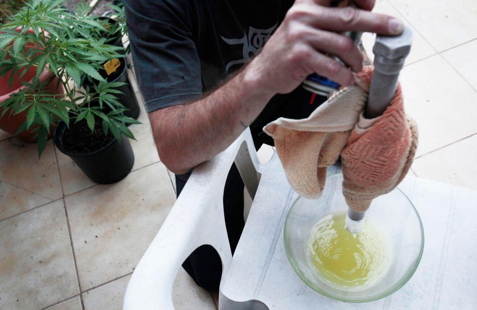 Medical marijuana advocate in Spain makes cannabis oil.