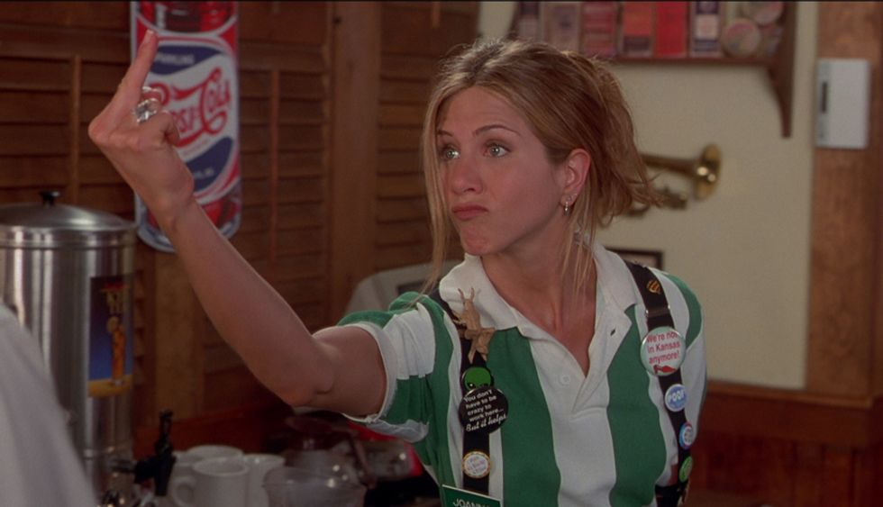 Jennifer Anniston as TGI Fridays waitress 'Joanna' quits her job in the 1999 film 'Office Space'.