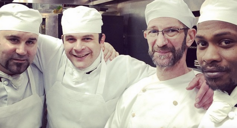 Chef David Waltuck with a few students at Edwins restaurant in Cleveland. (Image: Edwins Instagram @edwinscle)