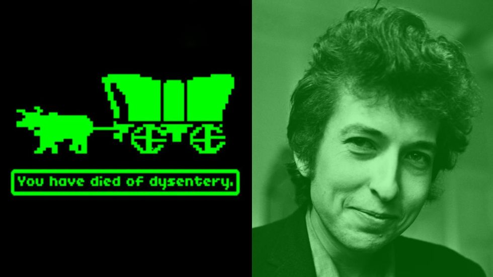 A screenshot of the computer game The Oregon Trail and a photograph of Bob Dylan.