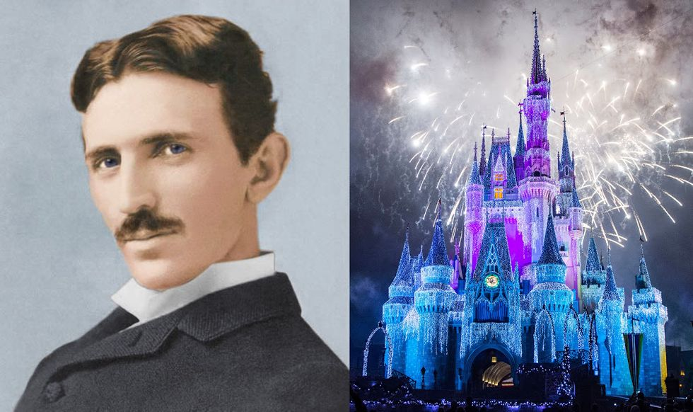 On the left, Serbian-American inventor Nikola Tesla. On the right, the Disney castle.