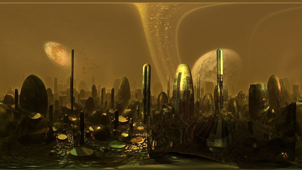 Artist conception of the UAE's Martian city.