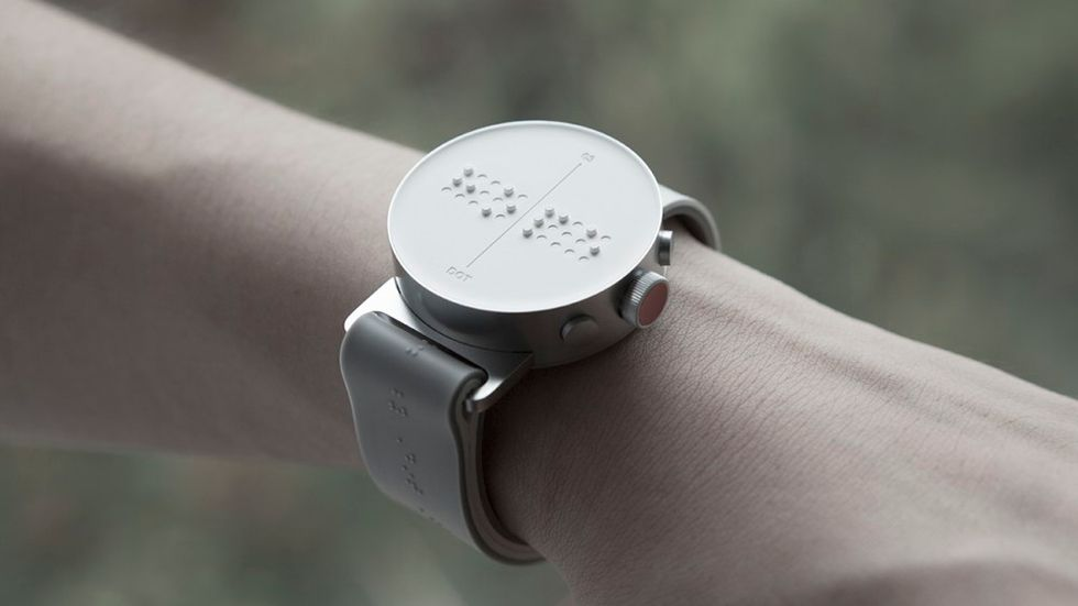 The display of the braille smart watch.
