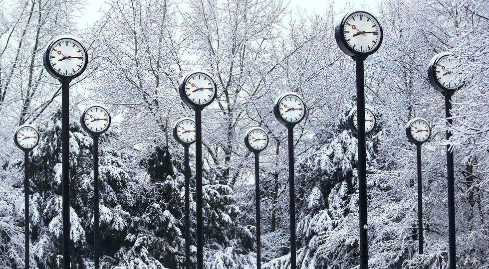 Snow on clocks