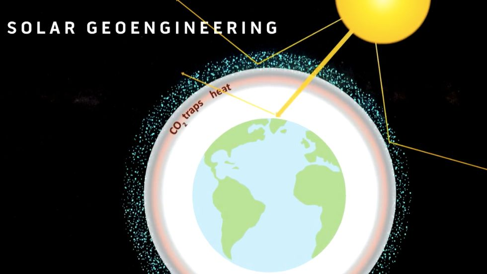 A Harvard graphic demonstrating how solar engineering could allow humanity to deliberately increase the planet's reflectivity.
