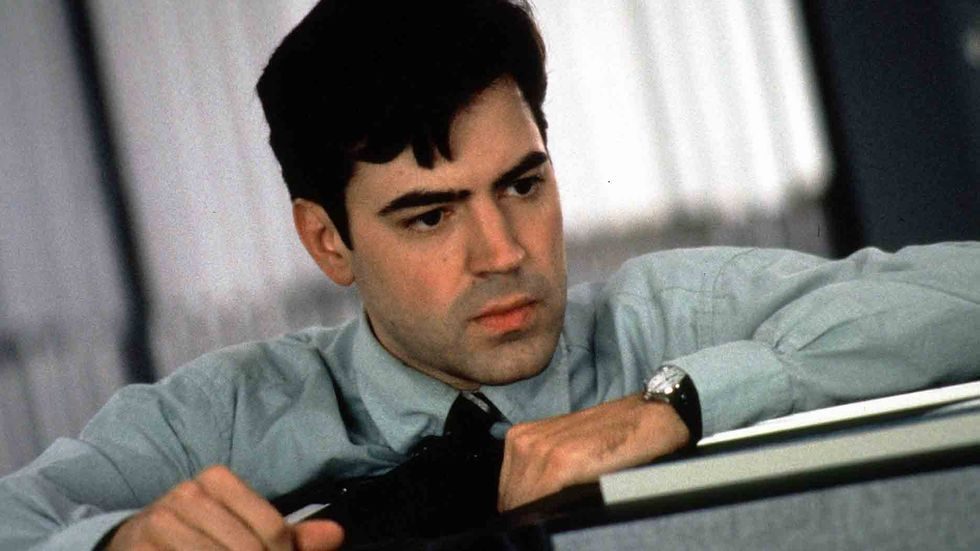 A still photograph of Ron Livingston from the film Office Space, a 1999 American comedy film written and directed by Mike Judge.