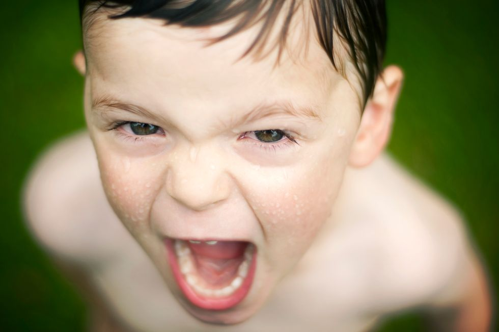A child having a temper tantrum.