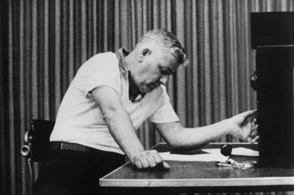 Photo from the Milgram experiment.
