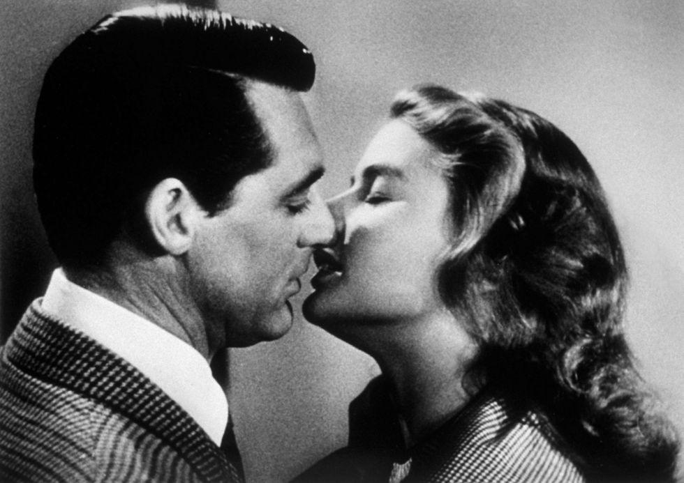 Cary Grant kissing Ingrid Bergman.