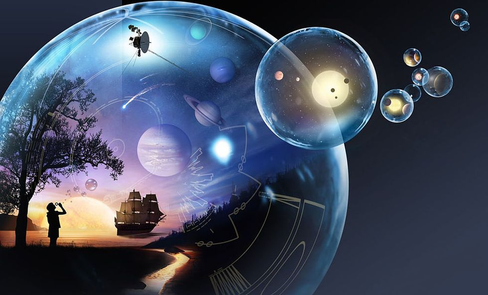 Child in a bubble with others floating nearby.