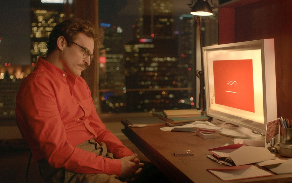 Theodore falls in love with Samantha, his operating system. From the movie Her (2013)