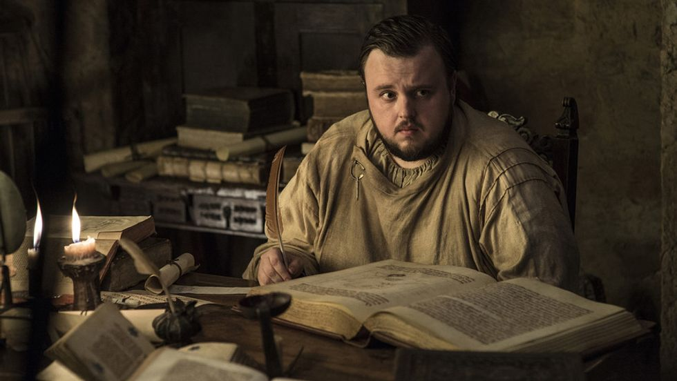 Samwell Tarly does some light reading in the first episode of Game of Thrones, season 7. [HBO]