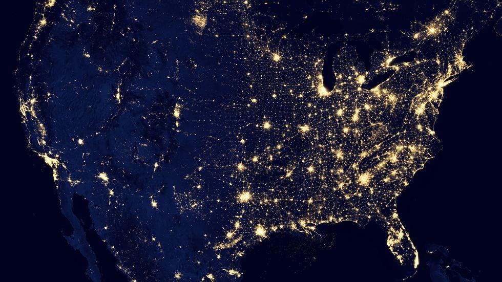 NASA image of North America at night.