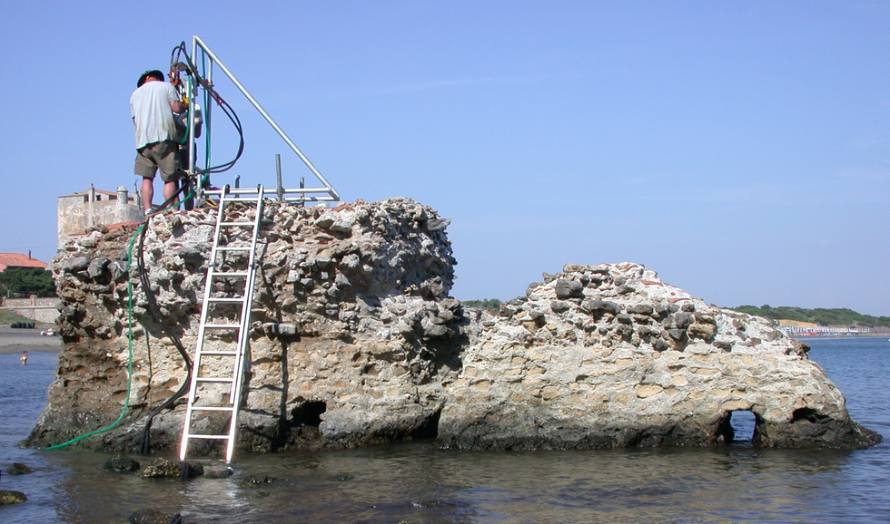 Drilling in an ancient Roman structure.