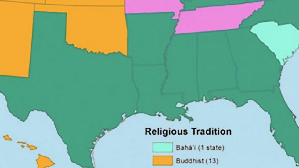 America Without Christians: Buddhist West, Muslim South, Jewish Northeast