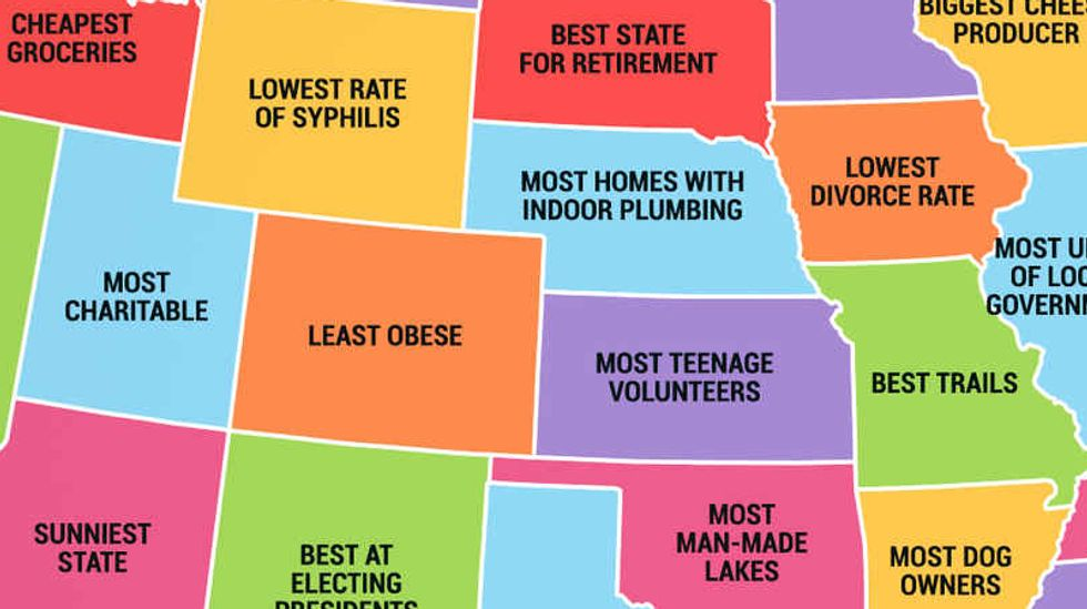 Map of the United States and what each state is best at