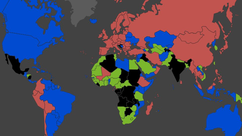 Map of the world color-coded by each nation's passport color