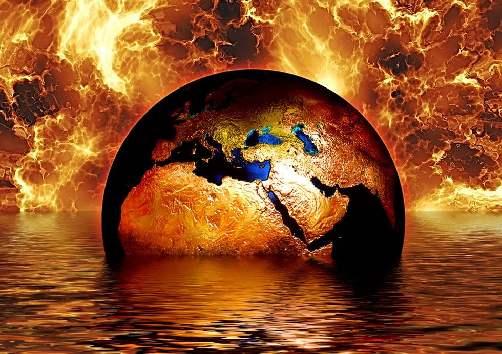 Earth on fire and sinking into water.