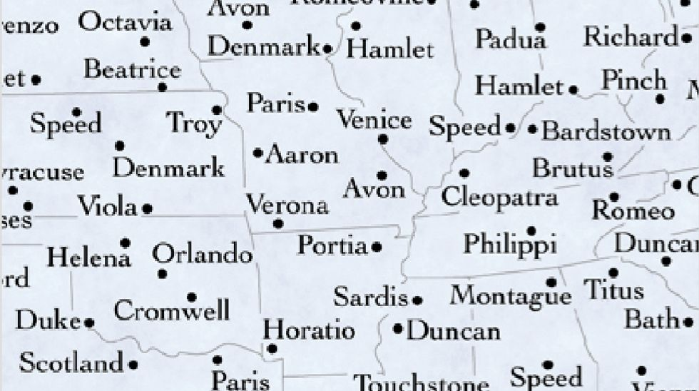 A Map of America's Shakespeare Towns