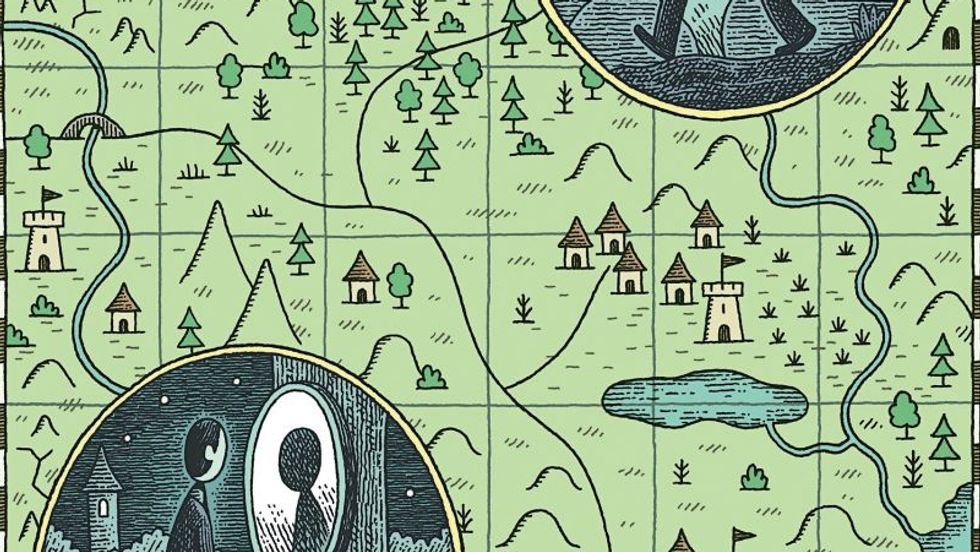 "A map drawn by Tom Gauld for the short story ""Fable,"" by Charles Yu, in the New Yorker."