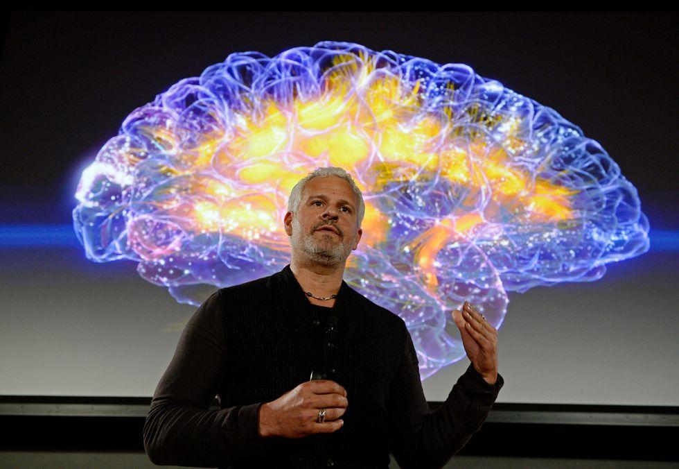Neuroscientist explaining intricacies of the human brain.