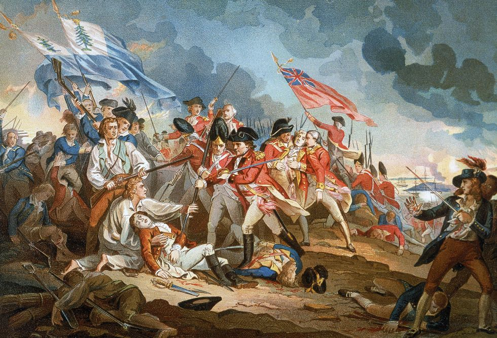 The Battle of Bunker Hill in 1775.