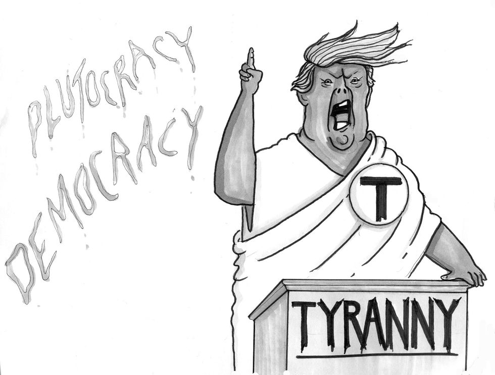 Cartoon of Donald Trump with a T for tyranny on his chest
