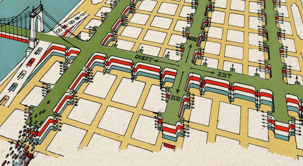 An illustrated map of New York City with four layers of highway traffic