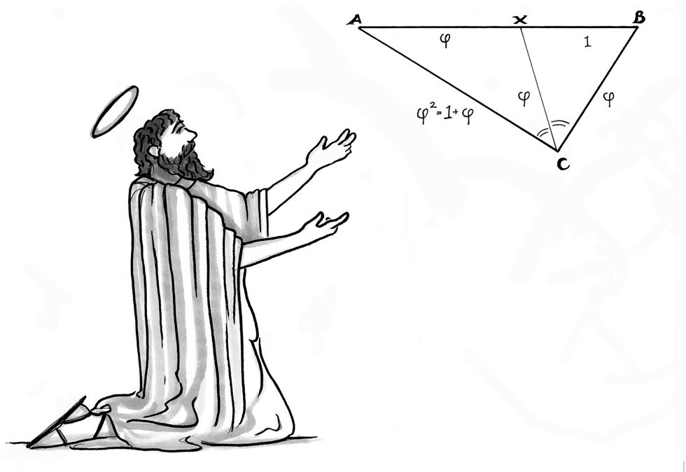 A man worshipping a triangle with mathematic equations around it.