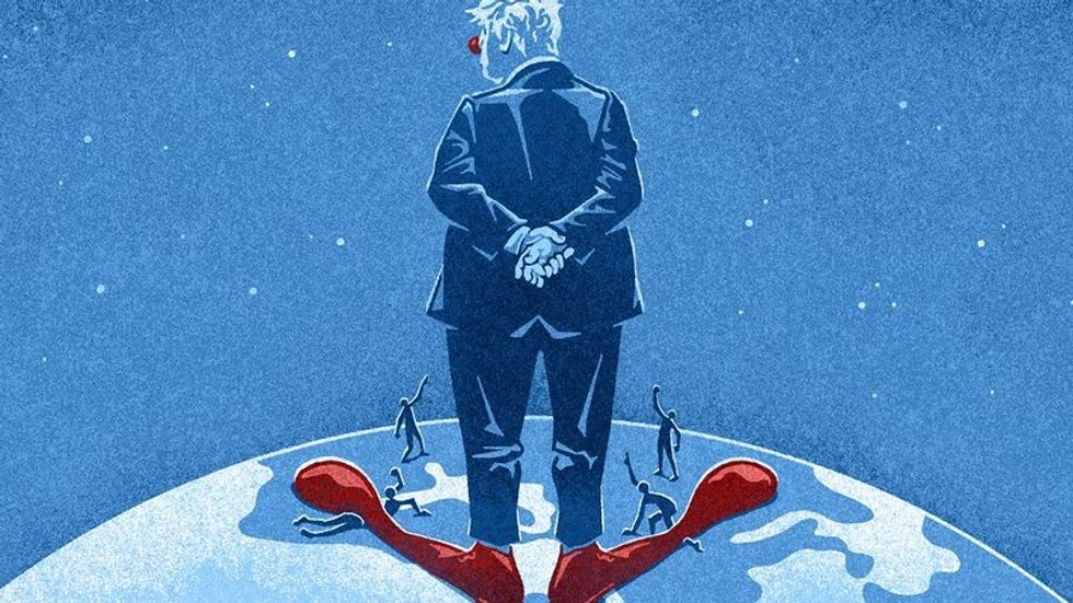 A cartoon of Boris Johnson on top of the world with clown shoes on - or is it his doppelganger Donald Trump?