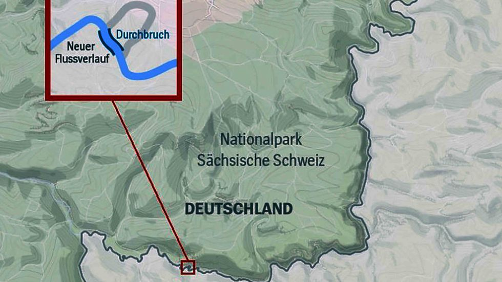 A map of Germany, with an arrow pointing to the Kirnitzsch River.