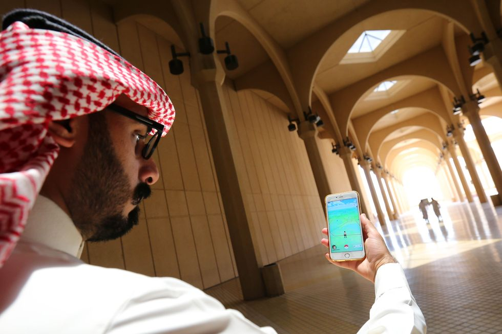 A Saudi person playing Pokemon Go