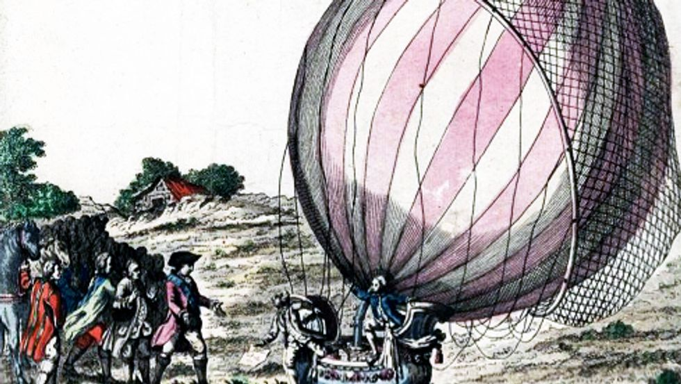 1783. Jacques Charles and Marie Noel Robert after the first manned flight on their hydrogen balloon.